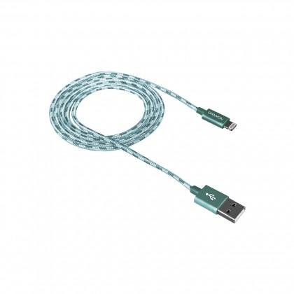 Kabel Canyon Lightning na USB, 1m, pletený, zelená