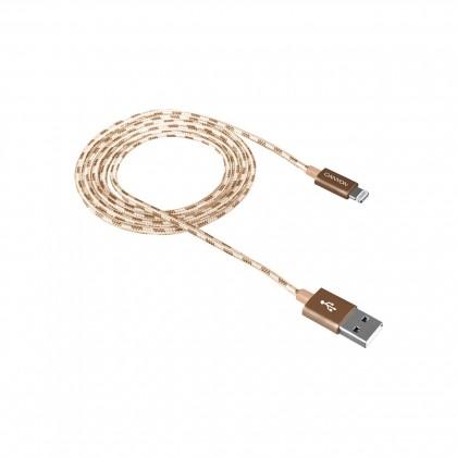 Kabel Canyon Lightning na USB, 1m, pletený, zlatá