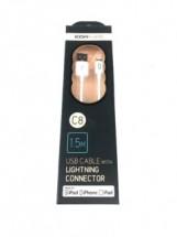 Kabel Lightning 1.5m, gumový, C8, bílá