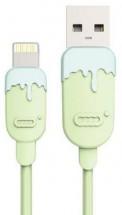 Kabel Lightning 1.5m, gumový, CC, zelená/modrá