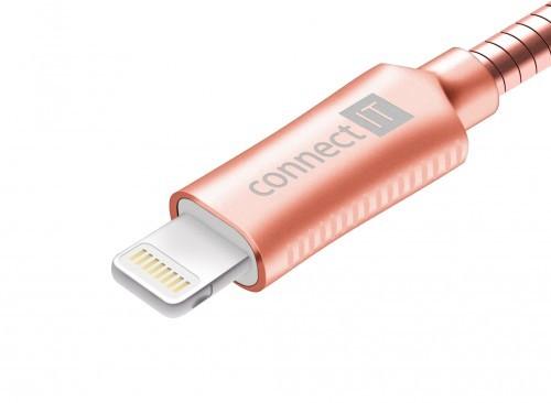 Kabel Steel Knight Lightning na USB, 1m, ocel, opletený, růžová