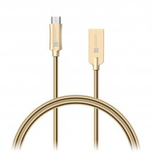 Kabel Steel Knight Micro USB na USB, 1m, ocel, opletený, zlatá