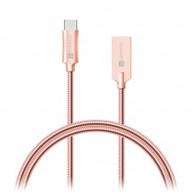 Kabel Steel Knight USB Typ C na USB, 1m, ocel, opletený, růžová