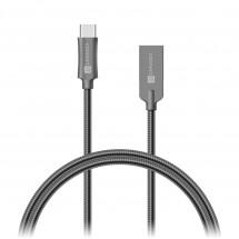 Kabel Steel Knight USB Typ C na USB, 1m, ocel, opletený, šedá