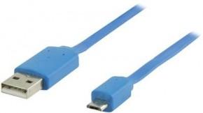 Kabel USB2.0 TYP A - MICRO USB TYP B, MODRÝ - 1m