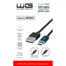 Kabel WG Micro USB na USB, 1m, LED indikace nabíjení