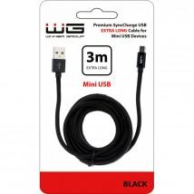 Kabel WG Mini USB na USB, 3m, černá