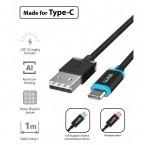 Kabel WG USB Typ C na USB, 1m, LED indikace nabíjení