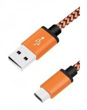 Kabel WG USB Type C na USB, 1m, opletený, oranžová POUŽITÉ, NEOPO