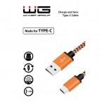Kabel WG USB Type C na USB, 1m, opletený, oranžová