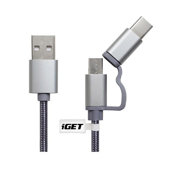 Kabely k telefonům a tabletům 2v1 Kabel iGET Micro USB/USB Typ C na USB, 1m, prodloužený
