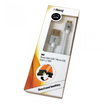 Kabely k telefonům a tabletům InHouse MKF-Reversible USB/ Micro USB Gold 1,2 BK, bílý