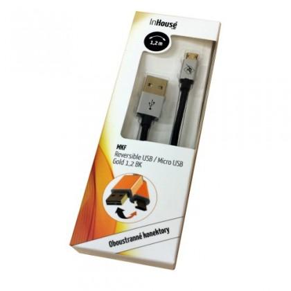 Kabely k telefonům a tabletům InHouse MKF-Reversible USB/ Micro USB Gold 1,2 BK, černý