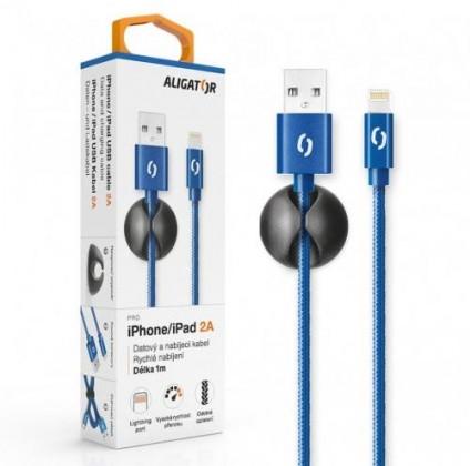 Kabely k telefonům a tabletům Kabel Aligator Lightning na USB, 2A, 1m, modrá