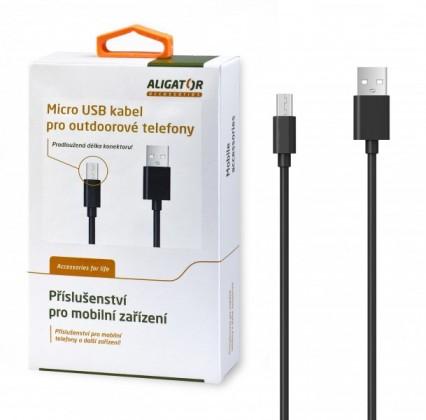 Kabely k telefonům a tabletům Kabel Aligator Micro USB na USB, 1m, prodloužená koncovka, černá
