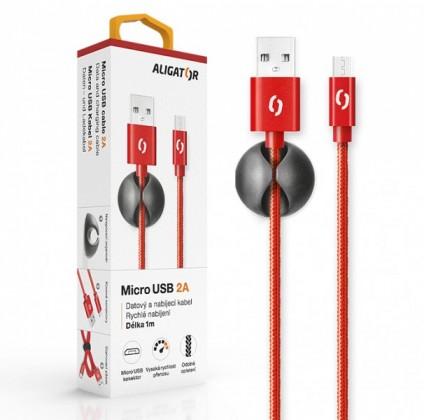 Kabely k telefonům a tabletům Kabel Aligator Micro USB na USB, 2A, 1m, červená