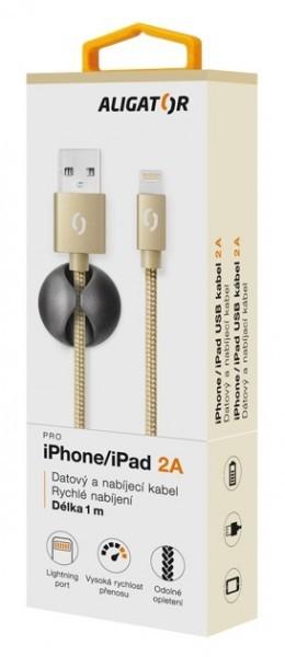 Kabely k telefonům a tabletům Kabel Aligator Premium Lightning na USB 2A, zlatá