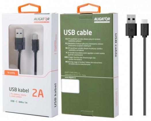 Kabely k telefonům a tabletům Kabel Aligator USB Typ C na USB, 1m, prodloužená koncovka, černá