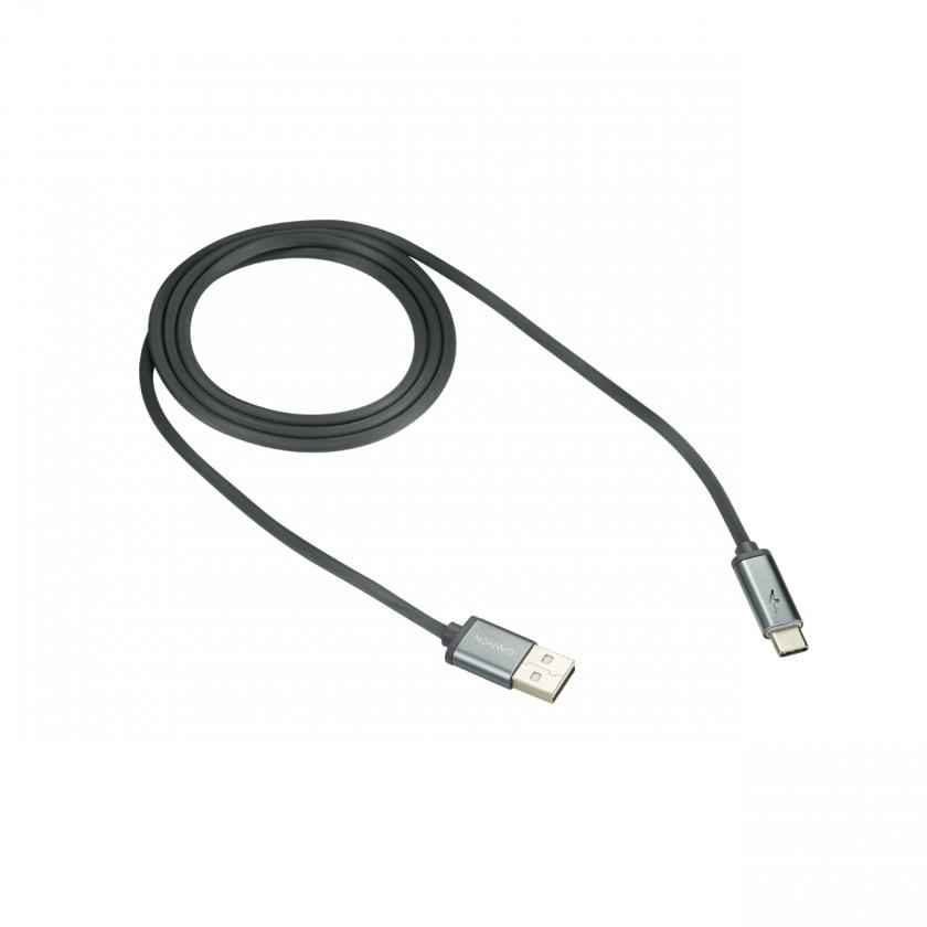 Kabely k telefonům a tabletům Kabel Canyon USB Typ C na USB, 1m, LED indikace nabíjení