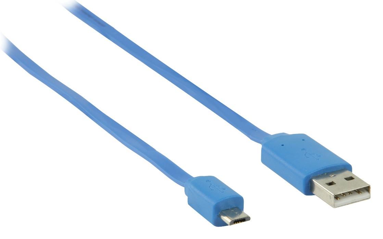 Kabely k telefonům a tabletům Kabel Nedis Micro USB na USB, 1m, modrá