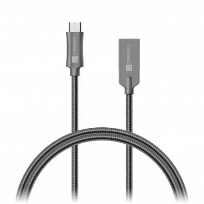 Kabely k telefonům a tabletům Kabel Steel Knight Micro USB na USB, 1m, ocel, opletený, šedá