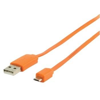 Kabely k telefonům a tabletům Kabel USB2.0 TYP A - MICRO USB TYP B, ORANŽOVÝ - 1m