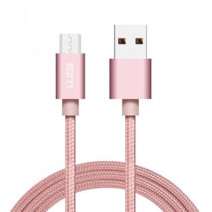 Kabely k telefonům a tabletům Kabel WG Micro USB na USB, 1m, růžová