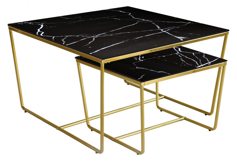 Kamenné konferenční stolky Konferenční stolek Stella - set 2 ks, stohovatelné (zlatá/černá)