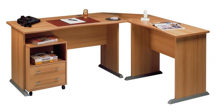 Kancelářská sestava Office - stůl do L, kontejner (buk )