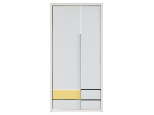 Kancelářská skříň Lemonade SZF2D4S (Bílá/žlutá)