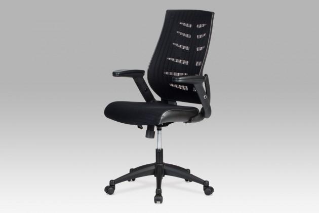 kancelářská židle Fishbone 2 - Kancelářská židle, látka mesh+koženka (černá)
