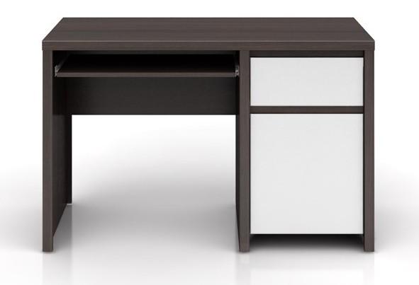 Kancelářský stůl Kaspian BIU1D1S/120 (Wenge / bílá lesk)