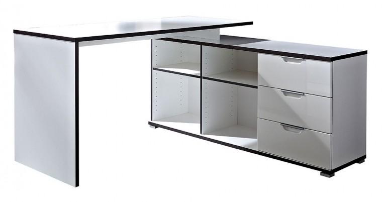 Kancelářský stůl Office - stůl se skříňkou (bílá)