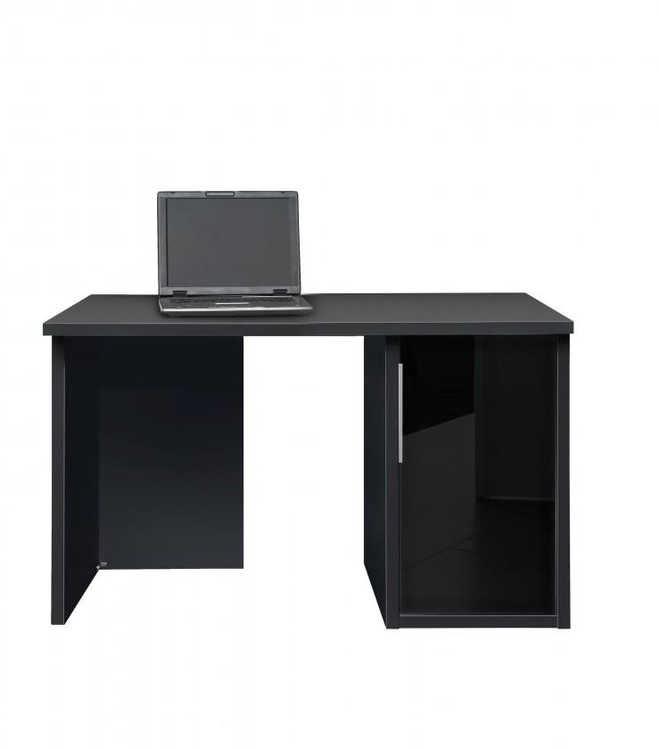 Kancelářský stůl Work - Stůl, skříňka se sklem, 1x police (černá, černé sklo)