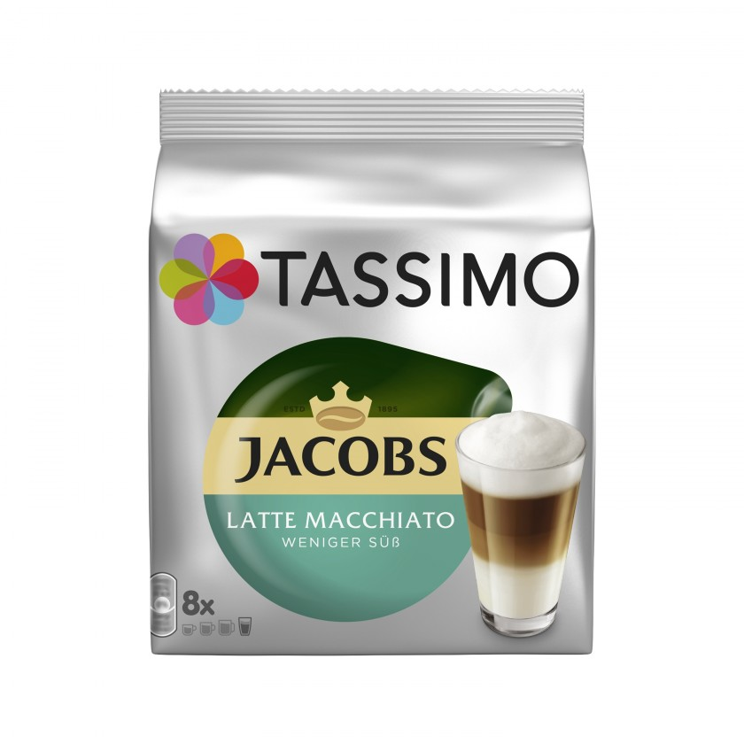 Kapsle, náplně Tassimo Jacobs Latte Macchiato Less Sweet 236g