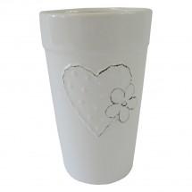 Keramická váza VK42 bílá se srdíčkem a kytičkou (21 cm)