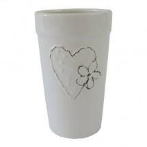 Keramická váza VK43 bílá se srdíčkem a kytičkou (18 cm)