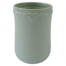 Keramická váza VK49 mátová se srdíčkem (17 cm)