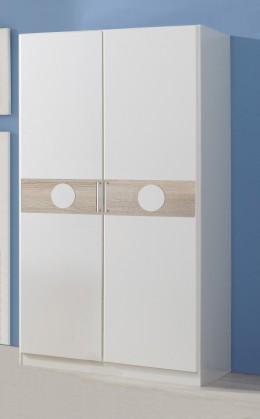 Kimba - Šatní skříň dvoudveřová (bílá, dub)