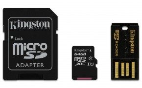 Kingston Micro SDXC 64GB Class 10 UHS-I + SD adaptér,USB čtečka