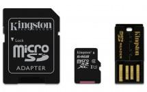 Kingston Micro SDXC 64GB Class 10 UHS-I + SD adaptér,USB čtečka