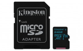 Kingston Micro SDXC Canvas Go! 64GB + SD adaptér  SDCG2/64GB