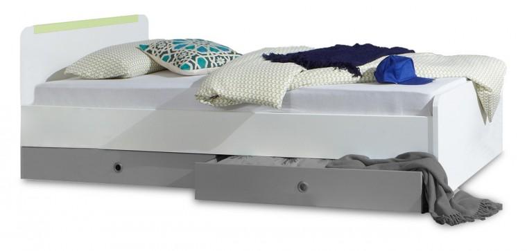 Klasická postel Bibi - Postel 90x200cm  (alpská bílá, zelené jablko)