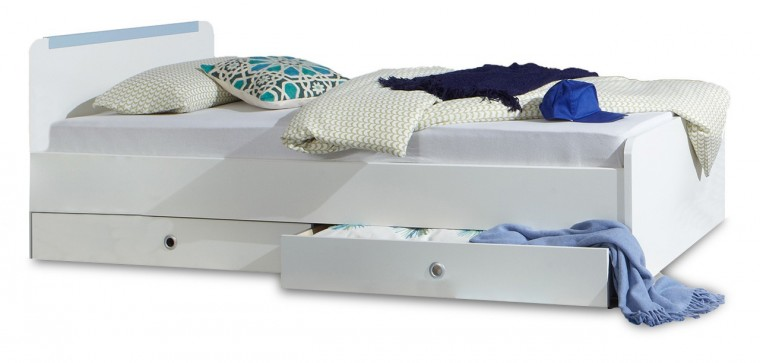 Klasická postel Bibi - Postel 90x200cm, s úložným prostorem (alpská bílá, modrá)