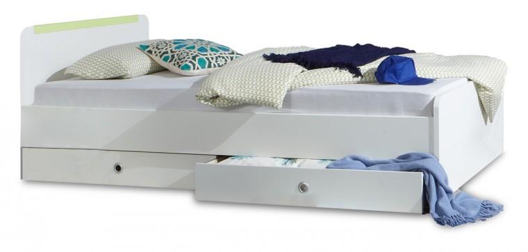 Klasická postel Bibi - Postel, úložný prostor (alpská bílá, zelené jablko)