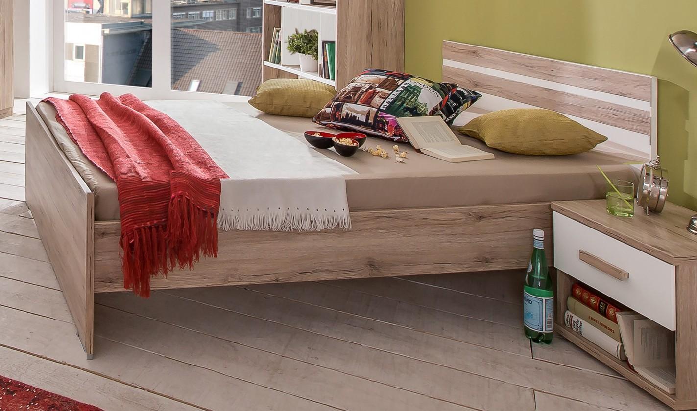 Klasická postel Cariba - Postel 120x200cm (san remo dub, bílá)