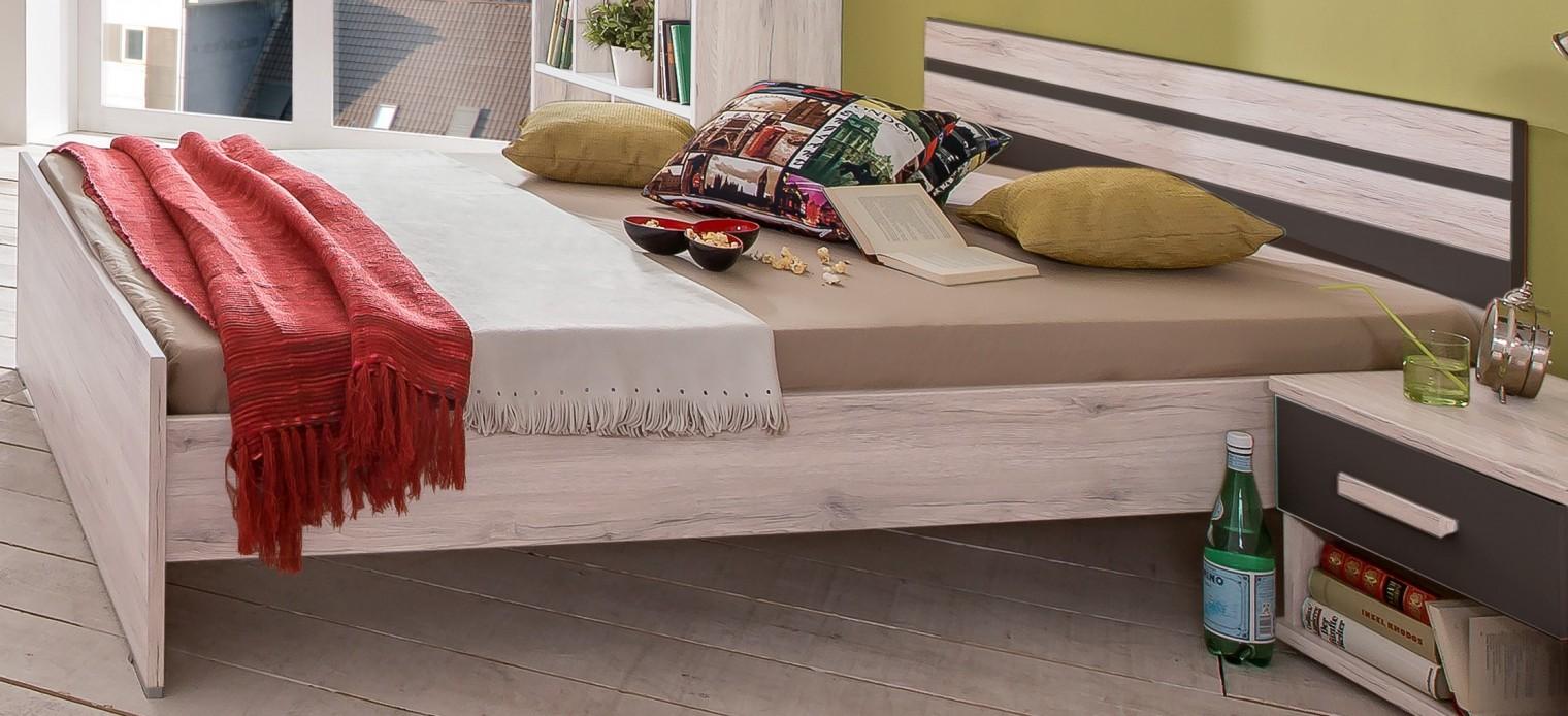 Klasická postel Cariba - Postel 140x200cm (bílá dub, černá láva)