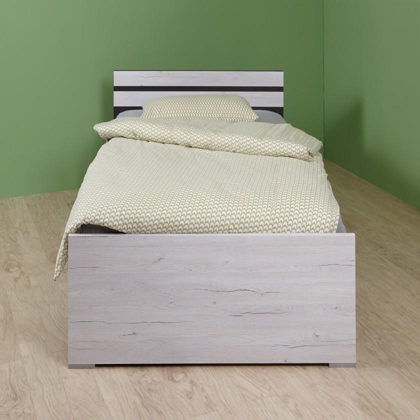 Klasická postel Cariba - Postel 90x200cm (bílá dub, černá láva)