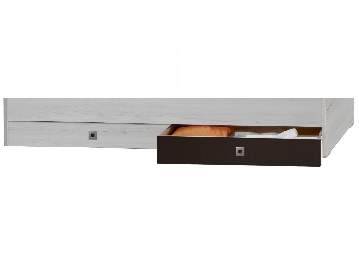 Klasická postel Cariba - Úložný prostor pod postel (bílá dub, černá láva)