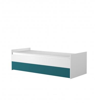 Klasická postel Dětská postel Simba 15 (korpus bílá/front bílá a tyrkysová)